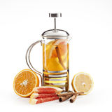 hete citroen-oranje thee stock afbeelding