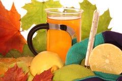 Hete citroenthee met thermometer Stock Afbeelding