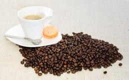 Hete coffe met bonen Royalty-vrije Stock Afbeelding
