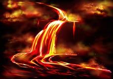 Hete die magmastroom door vulkanische activiteitenvector wordt veroorzaakt vector illustratie
