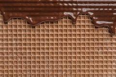 Hete donkere chocolade op wafeltje, close-up stock afbeeldingen