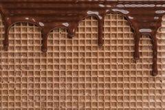 Hete donkere chocolade op wafeltje Knapperig voedsel stock afbeelding