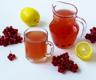 Hete drank met een guelder-roos en een citroen Royalty-vrije Stock Afbeelding