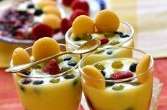 Hete eigengemaakte vanillepudding met aardbeien en wijnstokbessen Royalty-vrije Stock Fotografie
