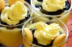 Hete eigengemaakte vanillepudding met aardbeien en wijnstokbessen Stock Afbeeldingen