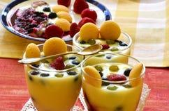 Hete eigengemaakte vanillepudding met aardbeien en wijnstokbessen Royalty-vrije Stock Afbeelding