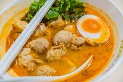 Hete en zure soep en vleesballetje gekookt ei in gecondenseerd water, royalty-vrije stock foto's