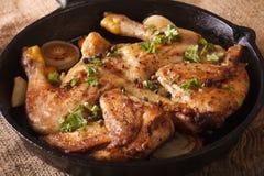Hete Fried Chicken-tabak met kruiden en knoflook in een pan horizo Stock Foto