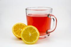 Hete fruitthee met citroenplakken stock fotografie