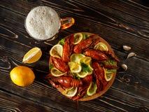 Hete gekookte rivierkreeften met een mok van bier en citroen Stock Fotografie