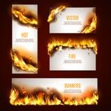 Hete geplaatste brandbanners Royalty-vrije Stock Foto