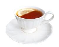 Hete Graaf grijze die thee met citroenplak op witte achtergrond wordt geïsoleerd, stock foto