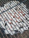 Hete grillsteenkolen stock foto's