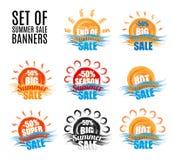 Hete grote geplaatste de verkoopstickers of banners van de seizoenzomer Stock Afbeelding