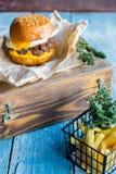 Hete hamburger met aardappels royalty-vrije stock foto's