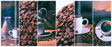 Hete Koffie Koffie Turk en kop van hete koffie met koffiebonen Royalty-vrije Stock Foto