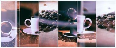Hete Koffie Koffie Turk en kop van hete koffie met koffiebonen Stock Foto