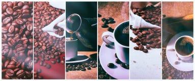 Hete Koffie Koffie Turk en kop van hete koffie met koffiebonen Stock Fotografie