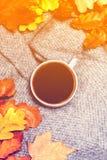 Hete Koffiekop met de herfstbladeren over houten achtergrond Abstra Stock Foto