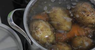 Hete kokende pan met groentenaardappels en wortelen Het koken in keuken stock afbeeldingen