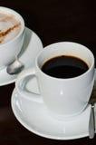 Hete kopkoffie en kopcoco Stock Fotografie
