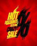 Hete kortingen die het gekke concept van het verkoopontwerp, sissen die percents branden vector illustratie