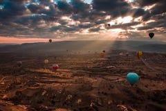 Hete lucht het ballooning in Cappadocia, Turkije stock foto