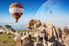 Hete lucht het ballooning in Cappadocia, Turkije stock foto's