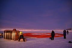 Hete lucht het ballooning in Finland stock foto