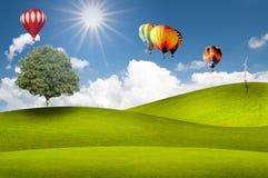 Hete luchtballon die in de hemel over land drijft Royalty-vrije Stock Foto's