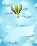 Hete luchtballon en banner op hemelachtergrond Stock Foto's