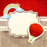 Hete luchtballon en regenboog over kartonachtergrond Royalty-vrije Stock Foto's