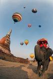 Hete luchtballon in Internationaal de Ballonfestival 2009 van Thailand Stock Fotografie