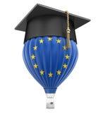 Hete Luchtballon met Europese Unie Vlag en Graduatie GLB Royalty-vrije Stock Foto's