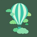 Hete luchtballon met propaanbranders die in het in brand worden gestoken Stock Afbeelding