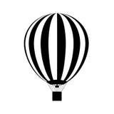 Hete luchtballon met propaanbranders die in het in brand worden gestoken Silhouet Vector Royalty-vrije Stock Afbeelding