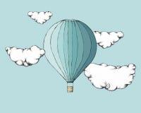 Hete luchtballon tussen wolken vector illustratie