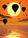 Hete Luchtballons bij Zonsondergangillustratie Stock Afbeelding