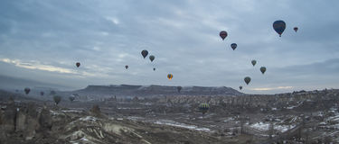 Hete luchtballons in Cappadocia, Turkije Stock Fotografie