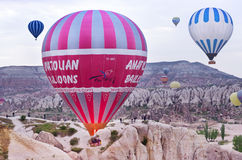 Hete luchtballons in Cappadocia, Turkije Royalty-vrije Stock Foto's