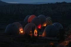 Hete Luchtballons in Cappadocia-Valleien Royalty-vrije Stock Foto