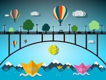 Hete Luchtballons en Document Boten vector illustratie