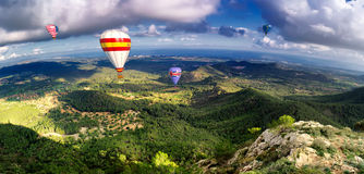 hete luchtballons in majorca Royalty-vrije Stock Foto