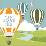 Hete luchtballons met exemplaarruimte Stock Afbeeldingen