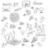 Hete pizza in doos met tomaten, mashrooms, kaas Royalty-vrije Illustratie