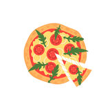 Hete pizzaplak met smeltende kaas op wit Vectorillustratie van margherita Hoogste mening Royalty-vrije Stock Foto