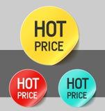 Hete prijsstickers Royalty-vrije Stock Afbeeldingen