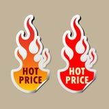 Hete prijsstickers Stock Afbeeldingen