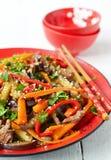 Hete salade met aubergine, rundvlees en peper Aziatische keuken Royalty-vrije Stock Afbeelding