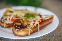 Hete sandwich met aubergine Stock Afbeelding